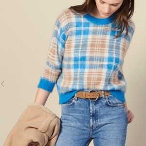 Sandro Checked Jacquard Sweater